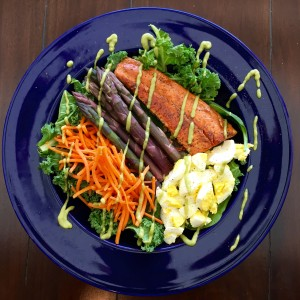 Purple Asparagus and Salmon Salad  http://balancingforlife.com/?p=341